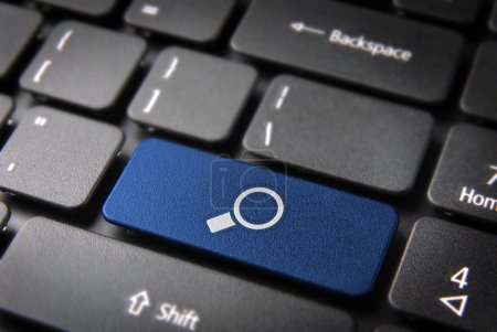 Blue search keyboard key, internet business background