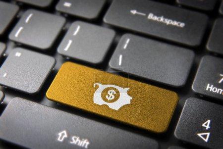 Photo pour Gagnez de l'argent avec Internet : clé dorée avec icône de tirelire sur le clavier de l'ordinateur portable. Inclus chemin de coupe, de sorte que vous pouvez facilement le modifier . - image libre de droit