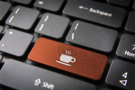 Orange Coffee cup keyboard key, Food background