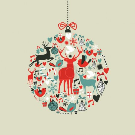 Christmas icons in bauble shape