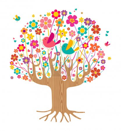 Illustration for Isolated spring time tree illustration with wooden trunk. Vector file layered for easy manipulation and custom coloring. - Royalty Free Image