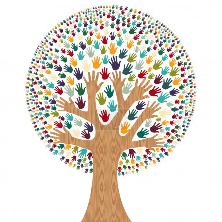 Illustration for Isolated diversity tree hands illustration for greeting card. Vector file layered for easy manipulation and custom coloring. - Royalty Free Image