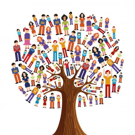 Illustration for Isolated diversity tree with pixelated illustration. Vector file layered for easy manipulation and custom coloring. - Royalty Free Image