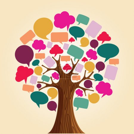 Illustration for Social network tree with speech bubbles leaves. Vector illustration layered for easy manipulation and custom coloring. - Royalty Free Image