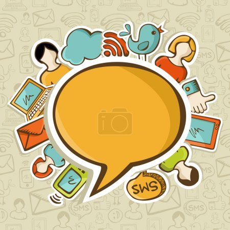 Photo for Social networks icons around the speech bubble over seamless pattern. Vector illustration layered for easy manipulation and custom coloring. - Royalty Free Image