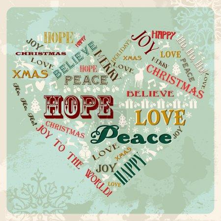 Illustration pour Vintage joyeux Noël concept mots en forme de coeur. illustration vectorielle en couches pour une manipulation facile et de la coloration personnalisée. - image libre de droit