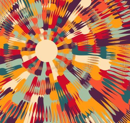 Illustration pour Argenterie multicolore encerclé fond contemporain sur la texture en bois. Illustration vectorielle superposée pour une manipulation facile et une coloration personnalisée . - image libre de droit