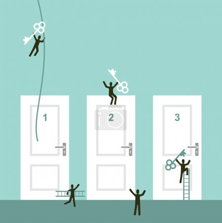 Illustration for Different doors to success business concept illustration. Vector illustration layered for easy manipulation and custom coloring. - Royalty Free Image