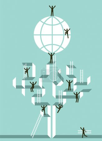 Illustration for Proactive teamwork to global business success concept tree illustration. Vector file layered for easy manipulation and custom coloring. - Royalty Free Image