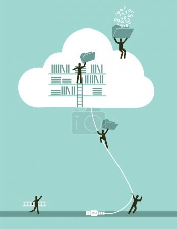Illustration for Cloud computing business concept illustration. Vector file layered for easy manipulation and custom coloring. - Royalty Free Image