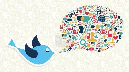Illustration pour Caricature de l'oiseau bleu et icône de médias sociaux mis en forme de bulle de discours. fichier vectoriel en couches pour une manipulation facile et de la coloration personnalisée. - image libre de droit