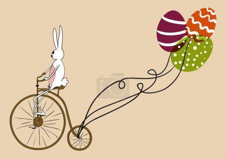 Photo pour Lapin de Pâques rétro vélo un vélo antique avec des œufs décoratifs comme ballons. Version du fichier EPS10. Cette illustration contient des transparences et est superposée pour faciliter la manipulation et la coloration personnalisée - image libre de droit