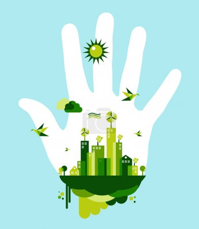 Illustration for Hand and green city town on blue sky background. Environmental conservation concept illustration. Vector file layered for easy manipulation and custom coloring. - Royalty Free Image