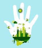 Go green city hand concept