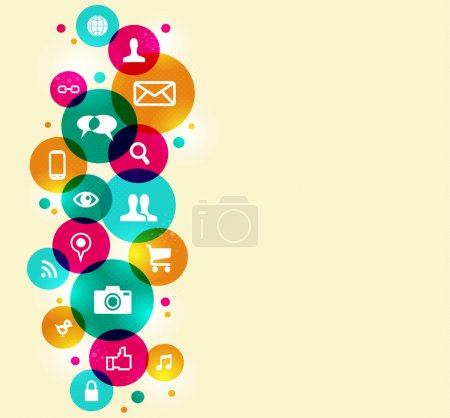 Illustration pour Icônes de médias sociaux mis au fond du cercle coloré. EPS10 version du fichier. Cette illustration contient des transparences et est posée pour une manipulation facile et de la coloration personnalisée. - image libre de droit