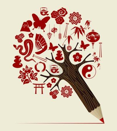 Photo pour Orient symboles chinois concept crayon arbre conception. Illustration vectorielle superposée pour une manipulation facile et une coloration personnalisée . - image libre de droit