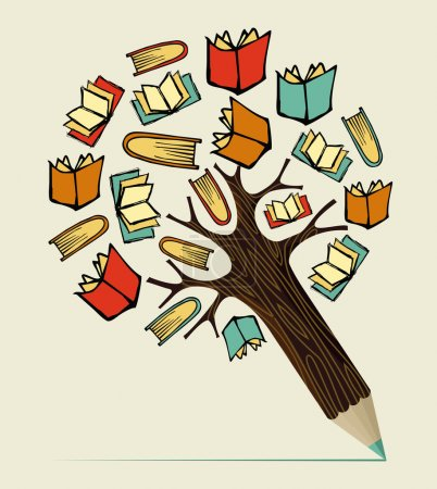 Illustration for Reading books education concept pencil tree. Vector illustration layered for easy manipulation and custom coloring. - Royalty Free Image
