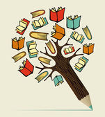 Reading books education concept pencil tree Vector illustration layered for easy manipulation and custom coloring