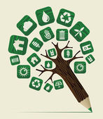 Green world concept pencil tree