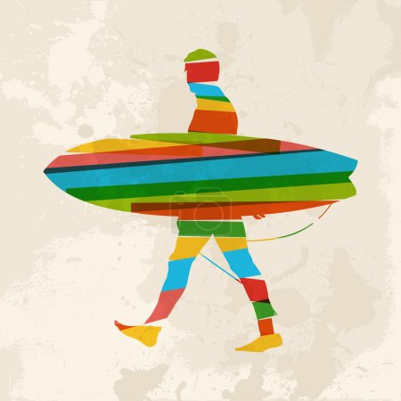 Illustration for Diversity colors transparent bands surfer with surfboard over grunge background. EPS10 file version. This illustration contains transparency and is layered for easy manipulation and custom coloring. - Royalty Free Image