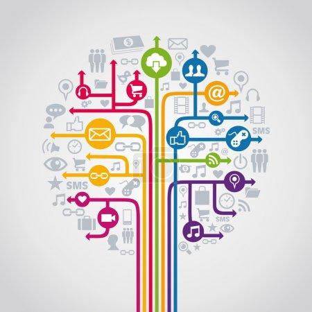 Illustration pour Réseau de médias sociaux concept arbre icônes ensemble. Illustration vectorielle superposée pour une manipulation facile et une coloration personnalisée. - image libre de droit