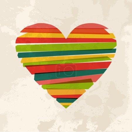 Vintage multicolor heart love shape
