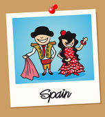 Spanish man and woman cartoon couple in vintage instant photo frame Vector illustration layered for easy editing