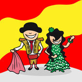 Spanish man and woman cartoon couple with national flag background Vector illustration layered for easy editing