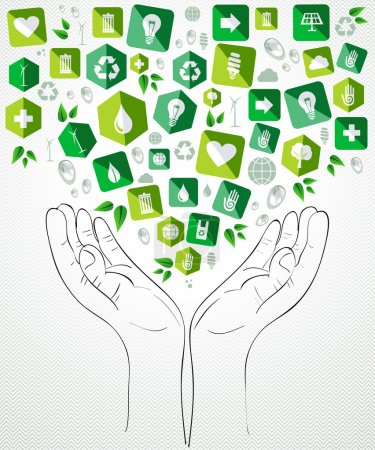 Illustration for Green icons open hands concept splash. Vector file layered for easy manipulation and custom coloring. - Royalty Free Image