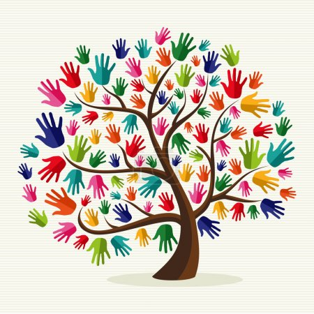 Illustration for Diversity multi-ethnic hand tree illustration over stripe pattern background. Vector file layered for easy manipulation and custom coloring. - Royalty Free Image