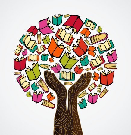 Illustration for Global education concept tree hand books. Vector file layered for easy manipulation and custom coloring. - Royalty Free Image