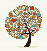 Global education concept tree made with books Vector file layered for easy manipulation and custom coloring