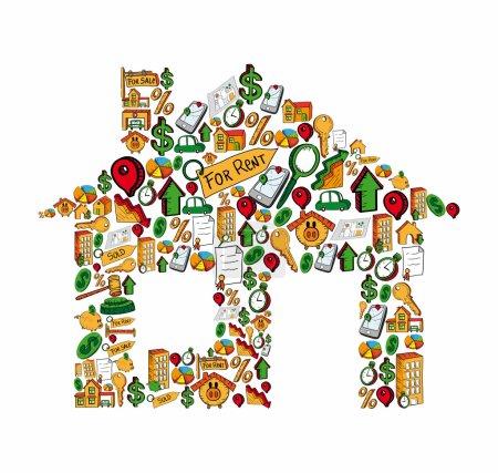 Illustration pour Icône de l'immobilier situé dans la maison silhouette isolée sur blanc. Fichier vectoriel stratifié pour une manipulation facile et une coloration personnalisée. - image libre de droit