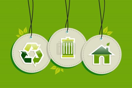 Illustration for Ecologic recycling design elements circle labels set background. Vector file layered for easy manipulation and custom coloring. - Royalty Free Image