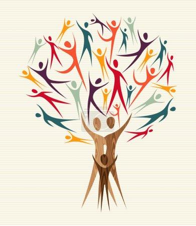 Illustration pour Famille formes humaines arbre de conception coloré. Fichier vectoriel stratifié pour une manipulation facile et une coloration personnalisée . - image libre de droit
