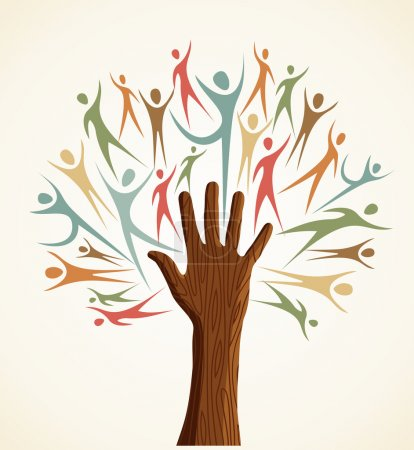 Family human shapes colorful hand conceptual tree....