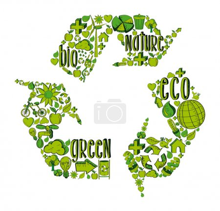 Illustration for Recycle symbol with environmental green hand drawn icons. This illustration is layered for easy manipulation and custom coloring - Royalty Free Image