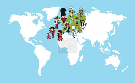 Europe people cartoons world map diversity illustration.