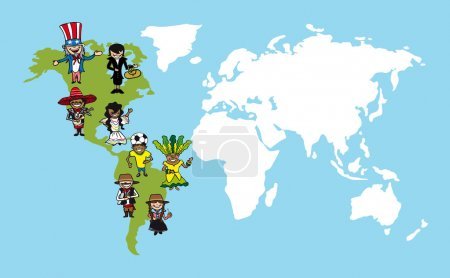 America people cartoons, world map diversity illustration.