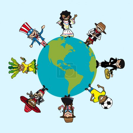 Illustration for Planet earth, diversity cartoon people, american continent. Vector illustration layered for easy editing. - Royalty Free Image