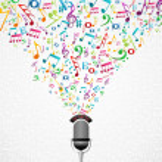 Постер, плакат: Music notes microphone design