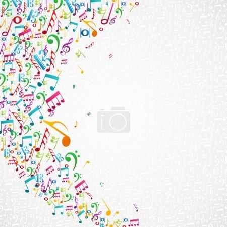 Illustration pour Notes de musique aléatoires colorées fond isolé. Fichier vectoriel stratifié pour une manipulation facile et une coloration personnalisée . - image libre de droit