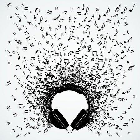 Illustration pour Écouteurs Dj notes de musique aléatoires illustration éclaboussure. Fichier vectoriel stratifié pour une manipulation facile et une coloration personnalisée . - image libre de droit