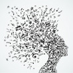 Music notes splash from woman's head illustration....