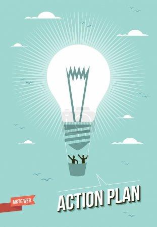 Illustration pour Web marketing ampoule action plan ballon illustration. Cette illustration de vecteur est posée pour une manipulation facile et de la coloration personnalisée - image libre de droit