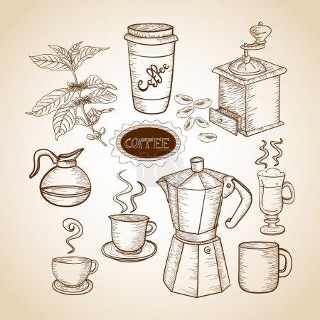 Photo pour Pot à café vintage, tasse, machine et illustration de broyeur. Cette illustration vectorielle est superposée pour faciliter la manipulation et la coloration personnalisée - image libre de droit