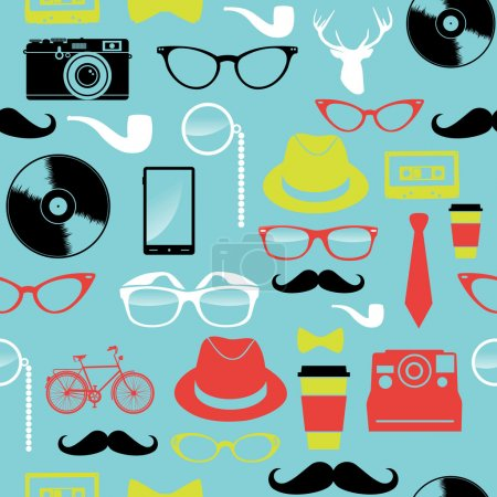Illustration for Vintage hipster icons seamless pattern illustration. Vector file layered for easy manipulation and custom coloring. - Royalty Free Image