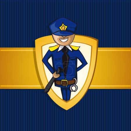 Service police officer man cartoon shield symbol.