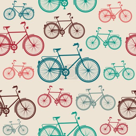 Illustration for Retro hipster bicycle, seamless pattern background. Vector file layered for easy editing - Royalty Free Image