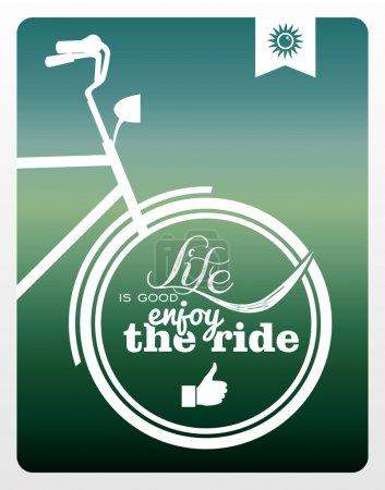 Illustration for Vintage hipster enjoy life bike background. Vector file layered for easy manipulation and custom coloring. - Royalty Free Image